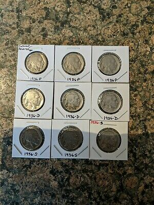 Buffalo Nickel Collection Lot Of 9  ,3 each of 1936 -p, 1936-d, and 1936-s !