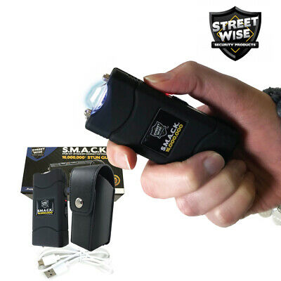 Streetwise SMACK 16,000,000 Stun Gun w/ LED Llight Holster Mini Keychain - BLACK