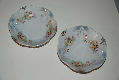 Two Bavaria Sch Scalloped-Edge Dessert Salad Dishes Rose and Leaf Pattern