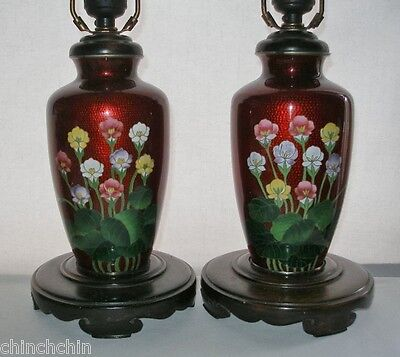 Phenomenally EXQUISITE Pair JAPANESE CLOISONNE LAMPS Pigeon Blood DIVINE Flowers