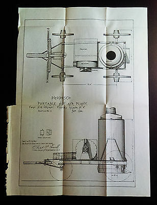1904 Diagram Proposed Portable Hot Air Plant Ft HG Wright Fisher's Island NY