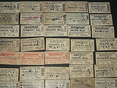 50 Boston & Maine, mostly 1920-50s Used Railroad Tickets, voided, cancelled  sc