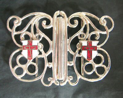 Stunning Vintage H/m Silver Buckle With Enamel Initials Sg Or Gs 36Gms 1946 ?