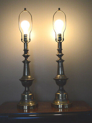 Vintage Pair Brass Table Lamps Working 3 Way No Shades Hollywood Regency Lamps