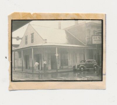 1930 Rare New Orleans Contact 35mm Rainy,Automobile,People,Signs,Street,Building