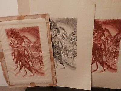 THREE OLD ANTIQUE Fine Art LITHOGRAPH s WPA style / era artwork vintage 1 signed