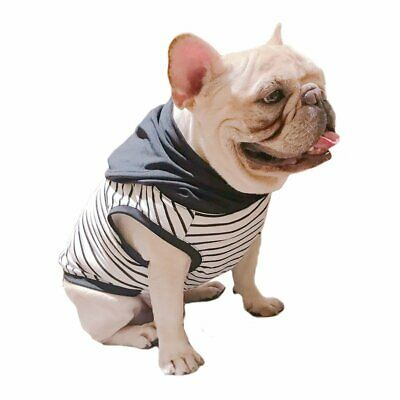 Black White Stripe with Black Hoodie Pet Clothing for French Bulldog or Pug Wear