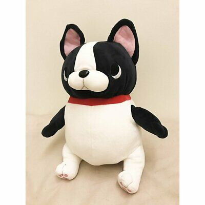 French Bulldog Stuffed Toy DOLL Black White with Red Collar Accessory Super Soft