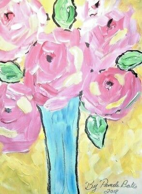 Original painting By PB pink roses impressionist hippy flower child art 12x9 NR
