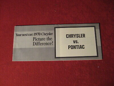 1970 Chrysler Versus Pontiac Dealer Sales Brochure Booklet Catalog Old Book