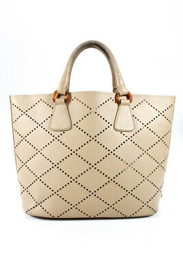 f331b33b4a22 Prada Womens Large Perforated Saffiano Tote Shoulder Handbag Beige Leather