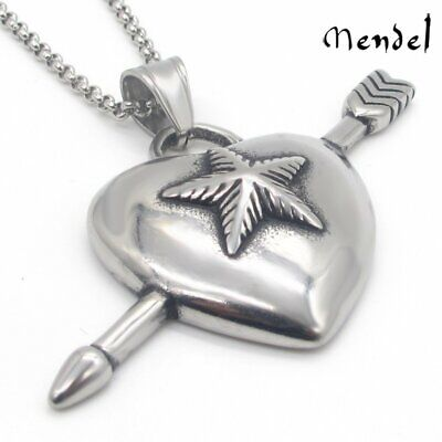 MENDEL Angel Cupid Heart Arrow Pendant Necklace Stainless Steel Hip Hop Jewelry