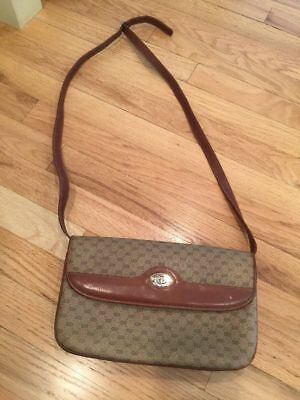 036e0bf1b Rare Vintage Gucci Chestnut Brown Monogram Canvas Shoulder Clutch Handbag