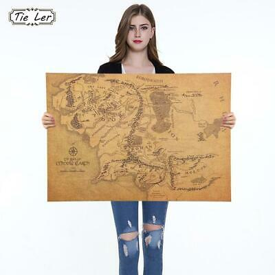 1PC 1 Pcs The Rings Middle Earth Map The Retro Kraft Paper Poster Movie Poste...