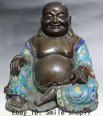 "14"" Chinese Purple Bronze Cloisonne Enamel Happy Laugh Maitreya Buddha Statue"
