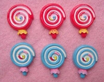 20 Swirl Lollipop Red & Blue Resin Flatback Button/Craft/Scrapbooking/candy B126