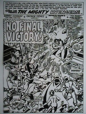 1976  Avengers  King Size Annual  # 6 Splash Page 1  George Perez Production Art
