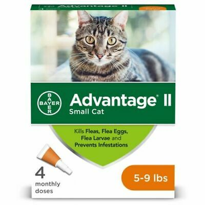 NEW Bayer Advantage II Flea Treatment for Small Cats 5-9 lbs. 4-pack / 4 months