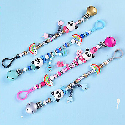 Baby Wood Pacifier Chain Soothers Panda Clip Holder Infants Feeding Product BS