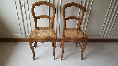 Paire Chaise cannée déco Style Louis Philippe Pair Chair Cane Impeccable