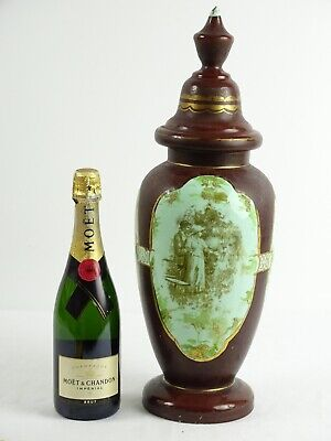 Antique Victorian Milk Glass vase with Romantic Scene Hand Pinted Gilded Europe