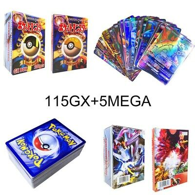 120pcs 115 GX + 5 MEGA Cards Pokemon Card Holo Flash Trading GX Cards Hot Sale #