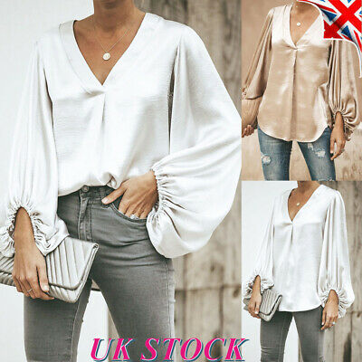 Womens Satin Puff Sleeve Tops Blouse Ladies Loose V Neck Party Work T Shirt UK