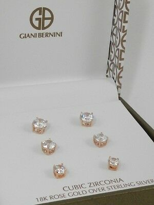 a8ede65ce Giani Bernini Cubic Zirconia Stud Earring Set in 18K Rose Gold Sterling  Silver