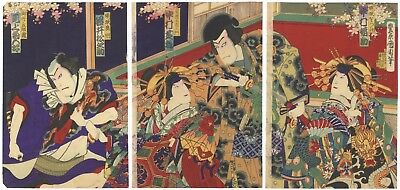 Kunichika Toyohara, Kabuki Play, Actors,Meiji,Original Japanese Woodblock Print