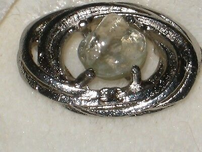 CHANEL  CC LOGO FRONT AUTH   SILVER, CLEAR  GLASS BUTTON TAG 16 x 12  MM  emblem
