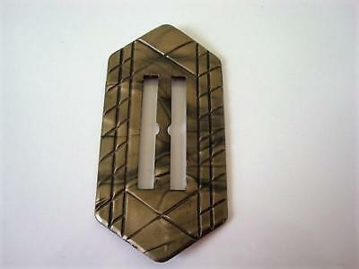 Large Vintage Art Deco Pearlized Olive Moonglow Celluloid Slide  Buckle 2 x 4 In