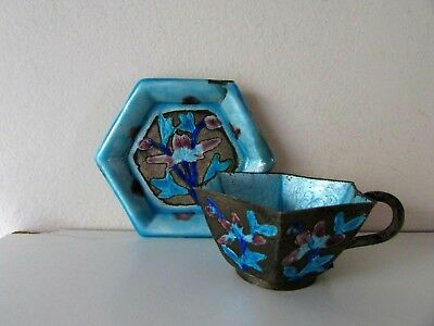 Antique Old Chinese Export Copper Enameled Coffee Hexagonal Coffe Cup & Saucer