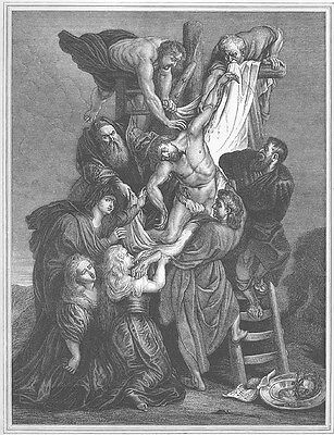 CRUXIFICION of JESUS CHRIST on Cross ~ Old 1862 Rubens BIBLE Art Print Engraving