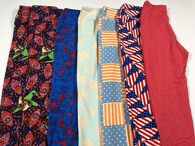 LuLaRoe Tween Leggings Lot Of 7 Solid Halloween Americana Floral NEW