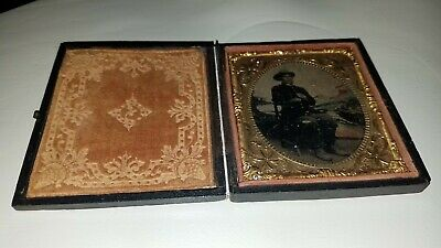 c1860s CIVIL WAR SOLDIER? Studio Shot TINTYPE Uniform HAND-TINTED Colored