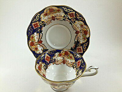 Royal Albert Heirloom Dark Blue Gold Cup And Saucer
