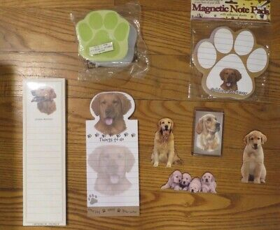 Lot 2 Golden Retriever Sticky Dog Breed Stationery Magnetic Note Pads