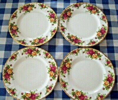 """4 Royal Albert Old Country Roses Salad Plates 8"""" Made In England New W Tag"""