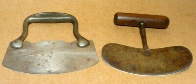 Two Vintage Primitive Antique Food Choppers Wood Metal Country