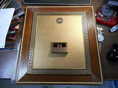 #4 Grecian Post Office Box DRAWER FRONT. FROM OLD PO BOX.  FRAMED FOR DISPLAY