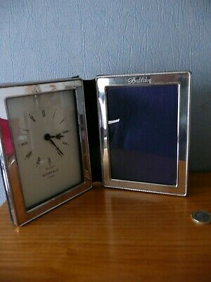Hallmarked Silver Photograph frame & clock by Kitney & Co