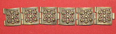 Antique Medieval Greek Handcrafted Bronze Folk Hinged Bracelet
