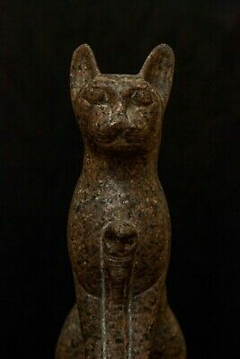 ANCIENT EGYPT EGYPTIAN Cat ANTIQUE Gods Bastet Ubasti Pharaoh Carved Stone, BC
