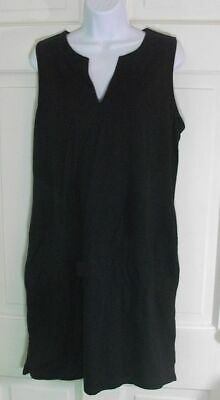 55ba5256 LANDS END tunic DRESS cover up WOMENS Large Long 14 16 black jersey knit