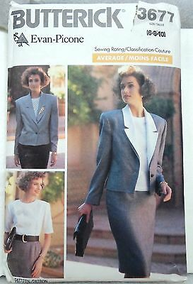 BUTTERICK Sewing Pattern # 3677 Misses/Petite JACKET SKIRT TOP Size 6-8-10 UNCUT