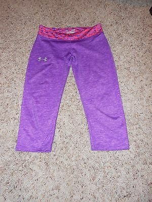 Girls Under Armour Capri Size Large Youth Fitted Purple Athletic EUC