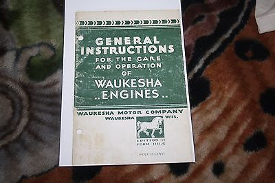Waukesha Engines General Instructions for the Care and Operation of 1956