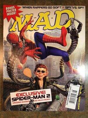 Mad Magazine August 2004 #444 Spider-Man 2 Rappers Go Soft - Satire Humor