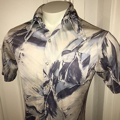 Vtg 60s 70s SEARS Kings Road Mens LARGE Hippie Stretch Ugly ABSTRACT Disco shirt