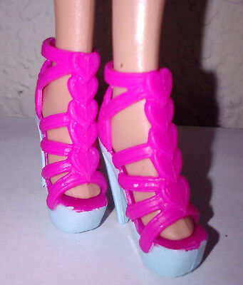 Pink Hearts Down the Front Light Blue High Heels Fashion Sandals for Barbie